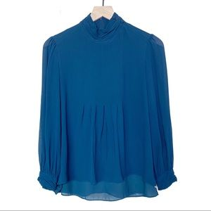 Tory Burch Silk Mockneck Teal Blouse Size 6
